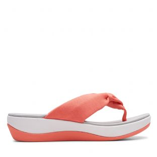 Clarks Womens Arla Glison Coral Synthetic Sandals
